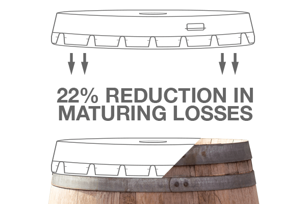 section drawing of smart cap on a whiskey barrel